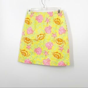 Lilly Pulitzer Seashell Yellow Skirt SZ 0 Preppy